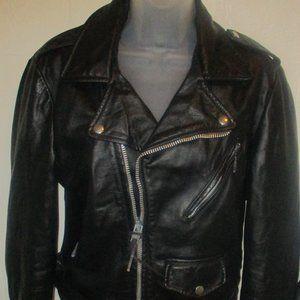 Cooper Black Leather Motorcycle Jacket Coat 36